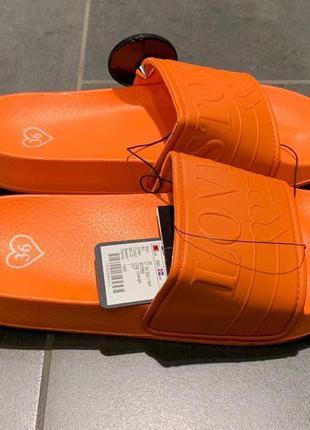 Оранжевые летние тапочки шлёпанцы amisu размер 40