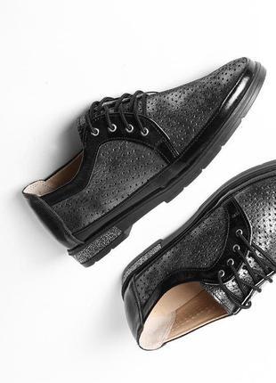 Кожаные женские серые туфли с перфорацией на шнурках натуральн...