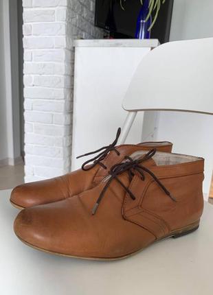 Sale классные кожаные мужские рыжие туфли