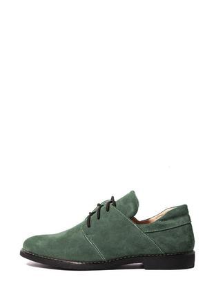 Замшевые женские зеленые туфли оксфорды на шнурках низкий кабл...