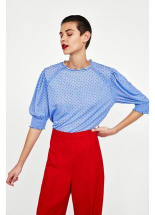 Новая голубая блуза, футболка в горох от zara
