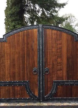 Распашные деревянные ворота от производителя под ключ Одесса.