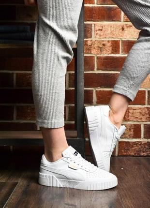 Женские кожаные кроссовки puma cali all white ✰ белого цвета 😻