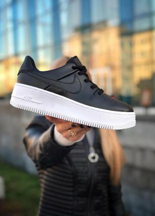 Шикарные женские кроссовки nike air force 1 sage чёрные