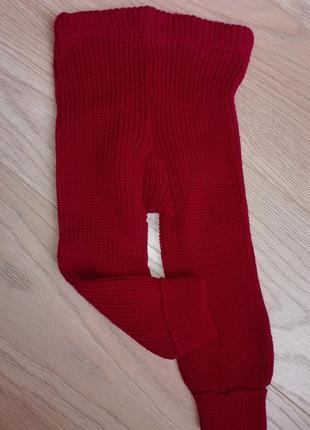 Красные вязанные гамаши, на 1-2 года