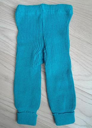 Голубые вязанные гамаши, на 1-1,5 года