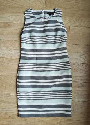 Прямое летнее платье в полоску, футляр, классика, l