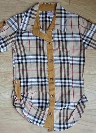 Удлиненная рубашка в клетку, на 9 -10 лет
