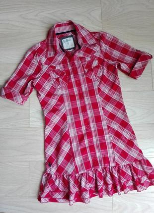 Стильное платье-рубашка в клетку