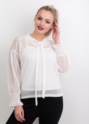 Белая оригинальная блуза сетка с майкой