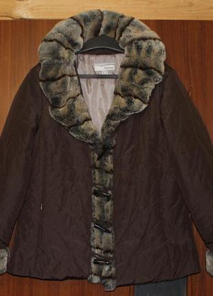 Дафлкот куртка пальто с мехом карманами пуховик теплая heine б...