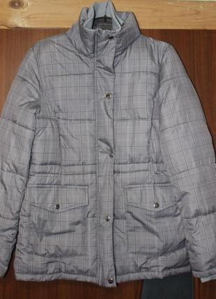Пуховик куртка в клетку теплая серая gina benotti