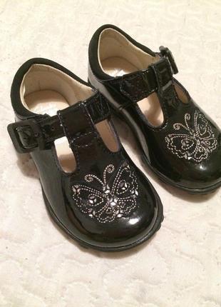 Туфли туфельки кожаные черные с мигалками лампочками светящиес...