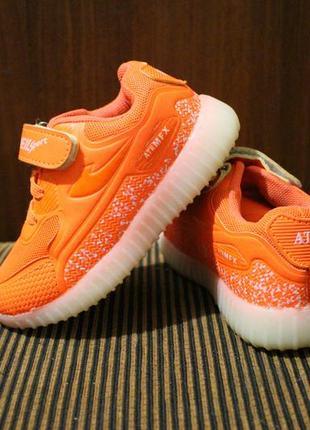 Кроссовки оранжевые на девочку jong-golf yeezy на липучках