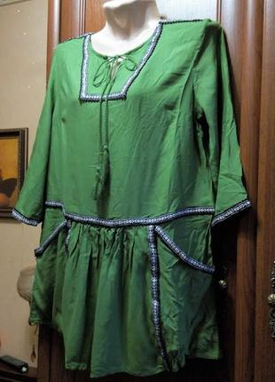 Туника блуза блузка зеленая штапельная бохо tu этно народный с...