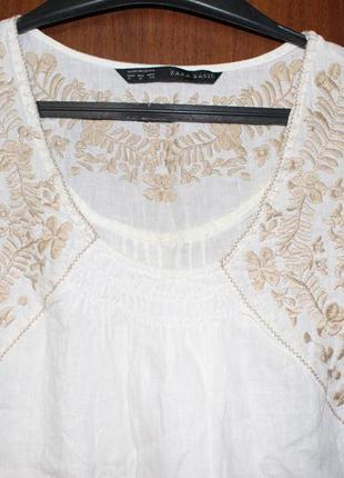 Белая льняная туника платье с вышивкой zara basic блуза с карм...