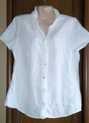 Белая льняная рубашка блузка сорочка с коротким рукавом marks ...