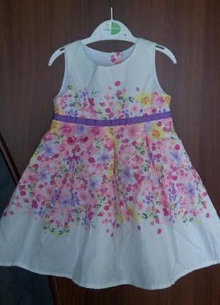 Платье в цветочек цветочное с цветами young dimension белое на...