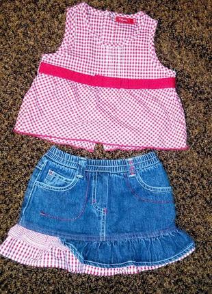 Комплект джинсовый костюм наряд юбка и топ tissaia на девочку