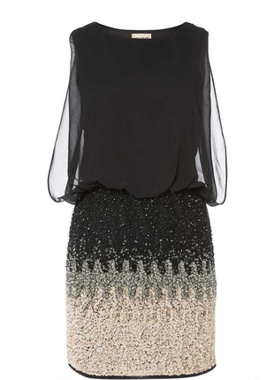 Вечернее короткое шифоновое черное платье с пайетками блесткам...