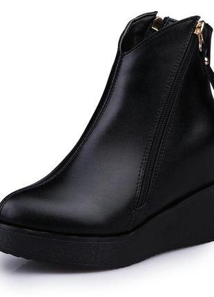 Черные ботильоны полусапожки ботинки на платформе
