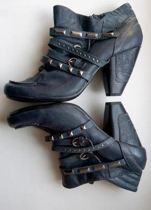 Ботинки туфли ботильоны синие с ремешками supremo