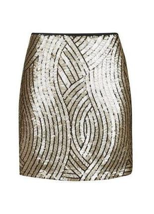 Золотая золотистая блестящая юбка с пайетками блестками topshop