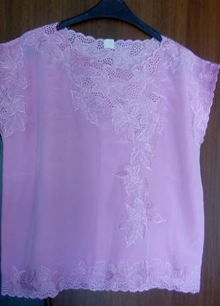 Розовая блуза блузка футболка топ с кружевом вышивкой ажурная
