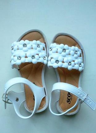 Белые босоножки сандалии шлепки шлепанцы с камешками на девочк...