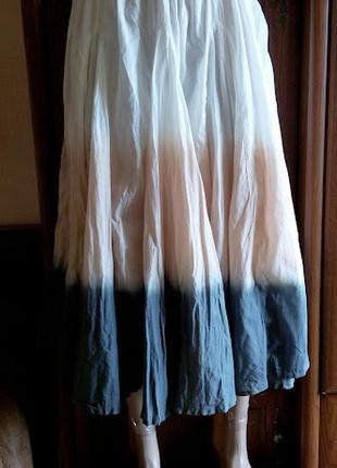 Батистовая хлопковая юбка клинка омбре на резинке градиент