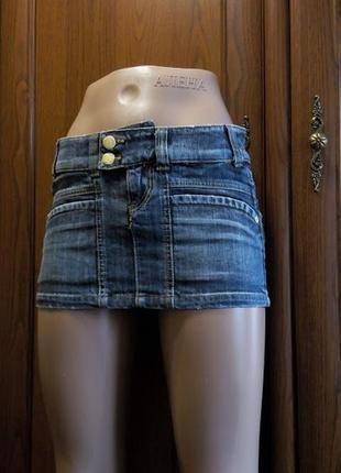 Короткая джинсовая мини юбка с карманами zara trf