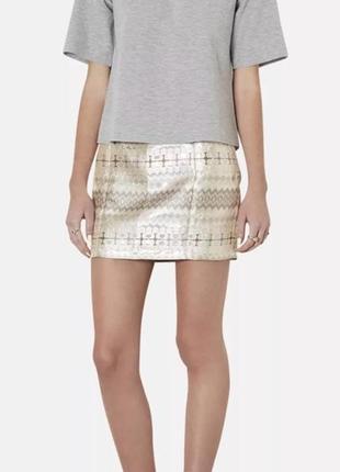 Мини юбка короткая блестящая topshop