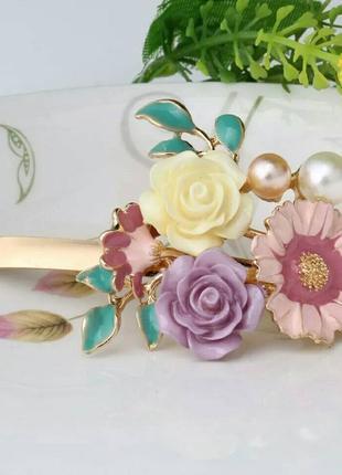 Заколка украшение для волос зажим цветы веточка бусинки
