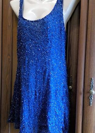 Майка топ платье с пайетками miss selfridge блестящая вечерняя...