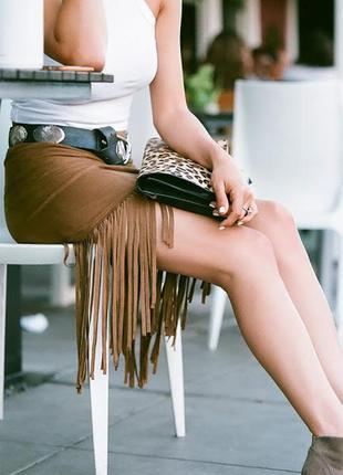 Morgan замшевая бежевая юбка с бахромой висюльками вестерн бох...