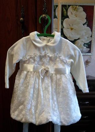 Платье нарядное белое с кружевом baby rose велюровое бархатное