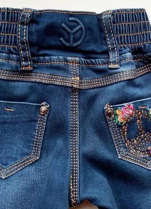 Стрейчевые утепленные джинсы на девочку со стразами с начесом ...
