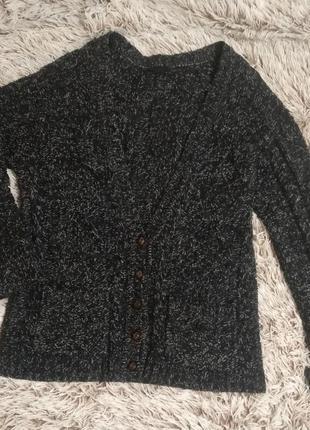 Объемный вязаный черный синий кардиган с белыми/серыми нитками...