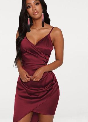 Атласное сатиновое ассиметричное платье в бельевом стиле комби...