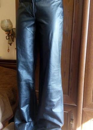 Черные кожаные брюки штаны клеш расклешенные h&m кожа