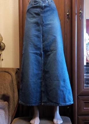 Длинная джинсовая юбка с разрезом макси angels
