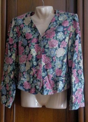Эксклюзивный льняной летний пиджак жакет блейзер с цветами в ц...