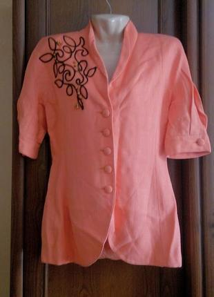 Терракотовый льняной пиджак с коротким рукавом жакет блейзер с...