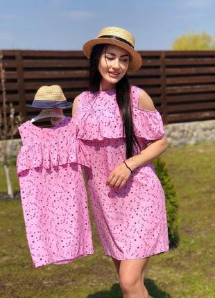 Комплект платье + повязка мама + дочка