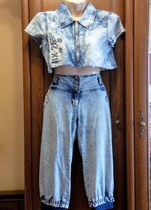 Джинсовый комплект топ футболка и шорты бриджи