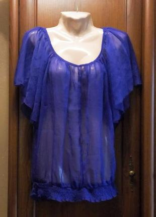 Фиолетовая пурпурная шифоновая прозрачная блузка футболка туни...