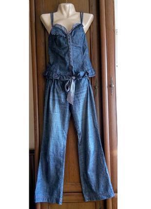Джинсовый комплект костюм корсет топ майка и брюки stefanel
