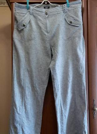 Льняные серые брюки штаны большого размера батал лен m&co