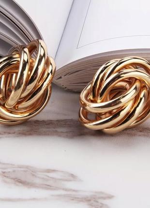 Серьги сережки золотые золотистые кольца узел