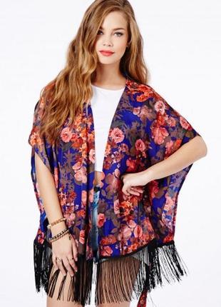 Шелковое цветочное кимоно накидка с бахромой висюльками missgu...